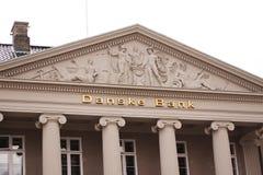 Логотип банка Danske на стене штабов Банк Danske самый большой банк в Дании и главный розничный банк в Северн Северном стоковое изображение rf