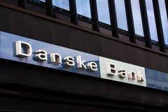 Логотип банка Danske на фронте ветви Банк Danske самый большой банк в Дании и главный розничный банк в северном европейце r стоковое изображение rf
