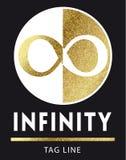 Логотип безграничности в золотом Стоковые Фотографии RF