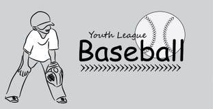 Логотип бейсбола лиги молодости иллюстрация вектора