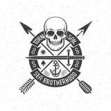 Логотип битника ретро с черепом пирата бесплатная иллюстрация