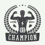 Логотип бокса и боевых искусств, значок или ярлык в винтажном стиле Стоковые Изображения RF