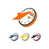 Логотип вектора времени домашний Стоковые Изображения