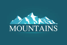 Логотип вектора высокогорных гор Стоковые Фото