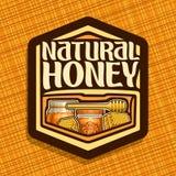 Логотип вектора для естественного меда Стоковое Изображение
