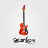 Логотип вектора магазина гитары иллюстрация штока