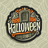 Логотип вектора на теме праздника хеллоуина Стоковая Фотография
