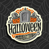 Логотип вектора на теме праздника хеллоуина Стоковые Изображения RF