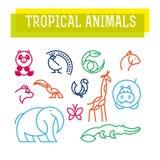 Логотип вектора плоско простой minimalistic тропический животный Стоковое Фото