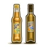 Логотип вектора разливает льняное семя по бутылкам, масло сезама бесплатная иллюстрация