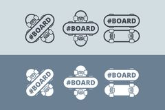 Логотип вектора с скейтбордом Стоковое Фото