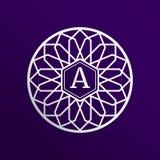 Логотип вектора с leter a Серебристый логотип цветка Эмблема красоты и моды, бренд, название фирмы Круглый флористический значок  Иллюстрация вектора