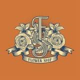 Логотип вектора цветочного магазина иллюстрация штока