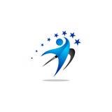 Логотип вектора людей успеха Стоковая Фотография