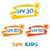 Логотип вектора для солнца защищает сливк Иллюстрация предохранения от солнца Стоковые Изображения