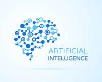 Логотип вектора AI искусственного интеллекта Искусственный человеческий мозг Искусственный интеллект и концепция машинного обучен бесплатная иллюстрация