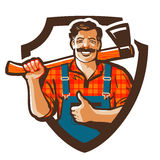 Логотип вектора Lumberjack значок woodcutter или forester иллюстрация штока