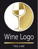 Логотип вина в золоте Стоковые Изображения RF