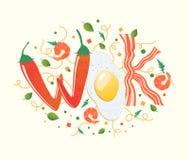 Логотип вка для тайского или китайского ресторана Фрай Stir с съестными письмами Иллюстрация вектора варочного процесса Слегка уд бесплатная иллюстрация