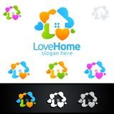 Логотип влюбленности домашний, крася дизайн логотипа вектора Стоковые Изображения