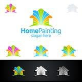Логотип влюбленности домашний, крася дизайн логотипа вектора Стоковые Фотографии RF
