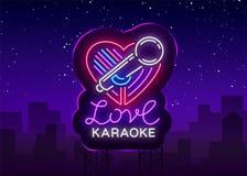 Логотип влюбленности караоке в неоновом стиле Неоновая вывеска, яркое еженощное неоновое караоке рекламы Светлое знамя, яркая ноч иллюстрация вектора