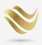Логотип волны в золоте Стоковое Изображение