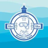 Логотип в стиле моря лета Стоковые Изображения