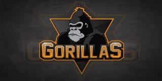Логотип гориллы для команды спорта стоковая фотография