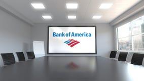 Логотип Государственного банка Америки на экране в конференц-зале Редакционная 3D анимация видеоматериал