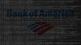 Логотип Государственного банка Америки сделанный исходного кода на экране компьютера Редакционная loopable анимация иллюстрация вектора