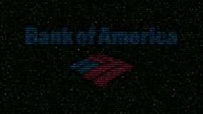 Логотип Государственного банка Америки сделанный проблескивая шестнадцатиричных символов на экране компьютера Редакционный перево сток-видео