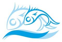 Логотип голубых малых рыб Стоковое фото RF