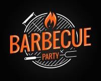 Логотип гриля барбекю на черной предпосылке Стоковое Фото