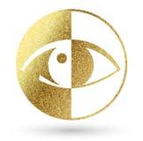Логотип глаза в золотом Стоковые Изображения