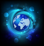 Логотип глобуса мира яркий голубой Стоковое Изображение