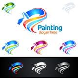 Логотип дела картины с красочным выплеском представил логотип картины Стоковое фото RF