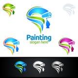 Логотип дела картины с красочным выплеском представил логотип картины Стоковое Изображение RF