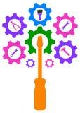 Логотип дерева шестерни двигателя технологии Стоковая Фотография