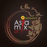 Логотип для ресторана или кафа AsiaMix Стоковое Фото
