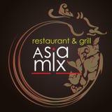 Логотип для ресторана или кафа AsiaMix Стоковое фото RF