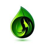 Логотип девушки красоты показывая здоровье Стоковое Изображение