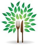 Логотип дерева ножа вилки иллюстрация штока