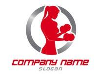 Логотип женщины спортзала на белой предпосылке Стоковое фото RF