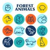 Логотип животного леса вектора плоско простой minimalistic Стоковые Фотографии RF