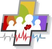 Логотип заботы семьи иллюстрация вектора