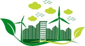 Логотип здания Eco стоковые фотографии rf