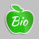 Логотип зеленого яблока БИО first иллюстрация вектора