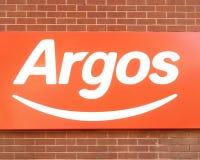 Логотип знака магазина магазина Аргоса стоковое изображение rf