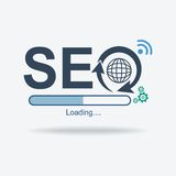 Логотип знака SEO, символ оптимизирования поисковой системы, плоский дизайн, иллюстрация вектора Стоковые Изображения RF